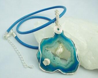 Blue drusy (druzy) shells