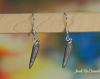 Sterling Silver Corn Earrings Fishhook .925 Ear of Corn on the Cob