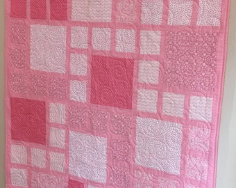 Pink Modern Girls, Toddler, Baby Quilt with Flannel Backing
