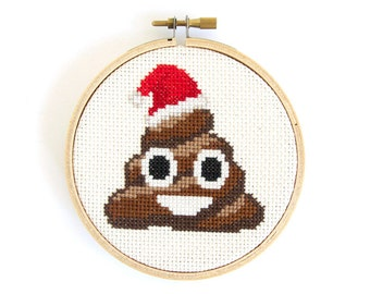 Christmas Poop Emoji Finished Cross Stitch Hoop Art
