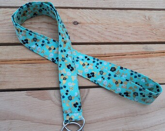 Seafoam Green and Gold Floral 1in Lanyard