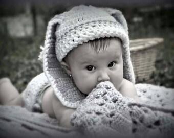 Crochet bunny diaper set in white, crochet newborn photo prop, Easter photo prop, bunny diaper set, diaper cover, floppy ear bunny, baby