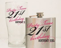 HOLIDAY SALE - 21st Birthday Flask Gift Set, 21st Birthday Glass, Girls birthday Gift, Custom Flask, 6 oz hip flask, Milestone Birthday Gift