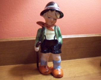 Vintage Large Hand Painted Hummel-Like Little Boy Figurine - Made in Japan