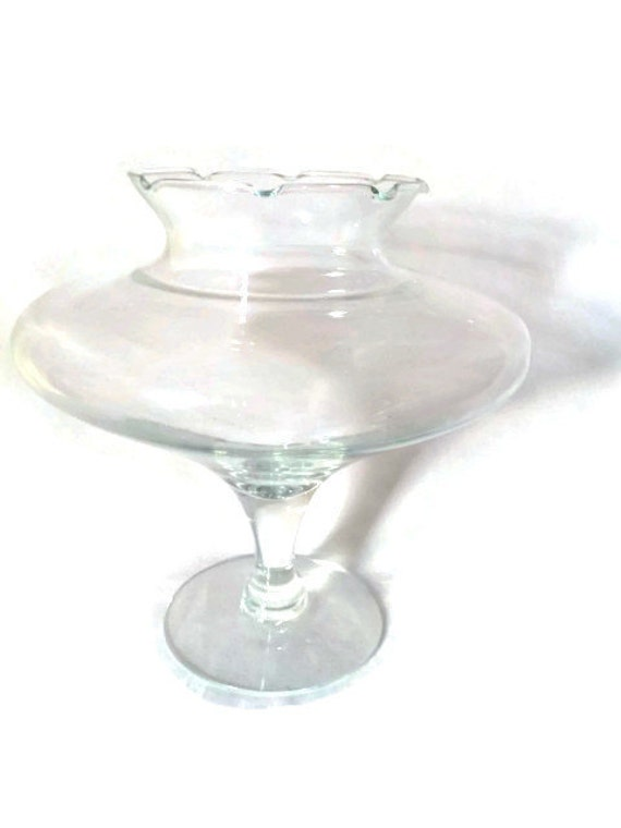 Large clear glass compote fish bowl compote unusual shape for Large glass fish bowl
