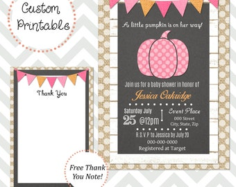 Little Pumpkin Baby Girl Shower Invitation DIY Printable