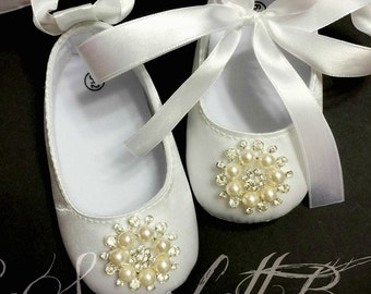 White Satin Baby Girl Shoes,Christening,Flower Girl Shoes