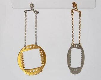 Earrings silver gold plated Asymmetry Geometry