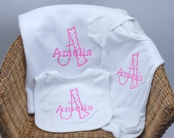 Personalised Embroidered Baby Gift Set