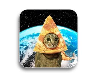 Pizza cat earth drink - drink coaster, birthday gift, coaster gift set, meme coaster, housewamring gift 2P045D
