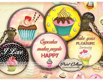 Cupcake, Cupcakes Cabochon images, Digital Download, Pendant Collage Images 1.5 inch, 16 mm 12 mm 1 inch Bottle Cap printables c240