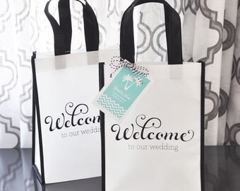Wedding Guest Welcome Bags/Out of Town Wedding Guest Bags/Wedding Goodie Bags (set of 12)/Personalized Tag Included