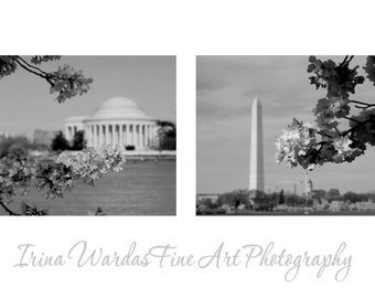 Washington DC photography, black and white wall art set of 2 prints 11x14, architecture art, Jefferson Washington momument travel pictures