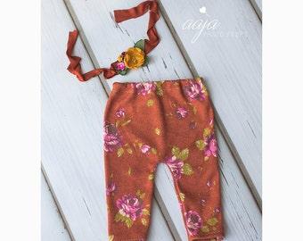 Baby newborn girl Autumn trousers and tieback set, burnt orange, mustard, green, Beautiful set, photo prop RTS