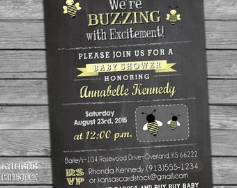Bee Baby Shower Invitation Bee Chalkboard Invite yellow gray