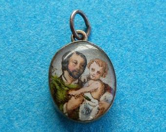 French, Antique Religious Gold Pendant. Saint Joseph & Jesus. Saint Virgin Mary. Medal.