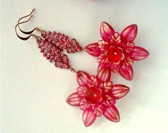 Lucite Earrings, Hand Painted Earrings, Flower Earrings, Boho Earrings, Springtime Earrings, Handmade Earrings, Red Flower Dangles, Painted