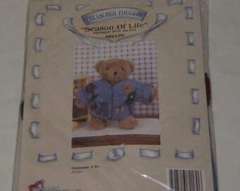 """Treasured Toggery Teddy Bear Felt Jacket Season of Life #82170 12"""" Bear NEW"""