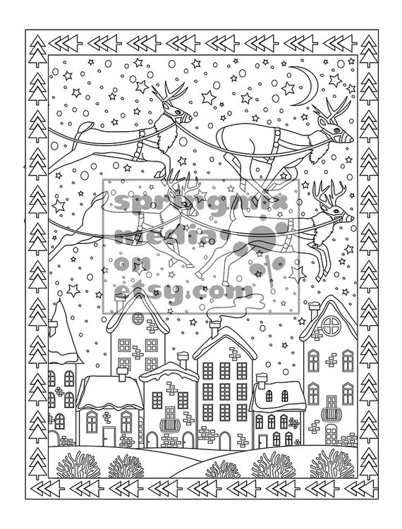 Printable Xmas Coloring Page Holiday Reindeer Christmas
