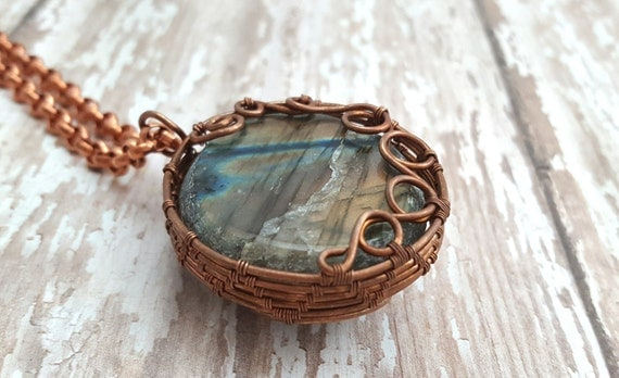 Labradorite Necklace - Copper Wire Wrapped Necklace - Natural Stone Necklace - Pendant Necklace - Spiral Statement Necklace -Gypsy - Boho