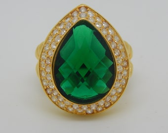 gold plated sterling silver ring with green emerald stone,green ring,gold plated jewelry,vintage  ring,size 9