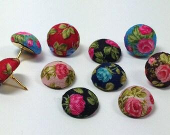 Decorative Push Pins, Fabric Drawing Pins, Vintage Rose Drawing Pins, Thumbtacks, Cork Board Pins, Wedding Favours, Pretty Drawing Pins