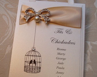Table Plan Cards. Birdcage Seating Plan. Vintage Style Table Plan Cards. Pearl & Diamante Bow.