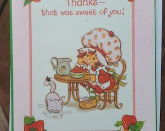 strawberry shortcake thank you note cards set