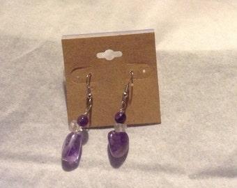 Amethyst and quartz dangle earrings
