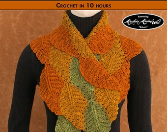 FLURRY OF FOLIAGE Crochet Scarf Pattern [Digital File Download]