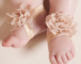 Baby Barefoot Sandals, Chiffon Baby Sandal, Toe Blooms, Newborn Sandals, Toddler Sandals, Baby Girl Sandals, Baby flower sandal