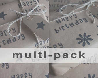 Multi-Pack Happy Birthday Gift Wrap: Includes 4 x Gift Wrap, 4 x Gift Tags & Twine.