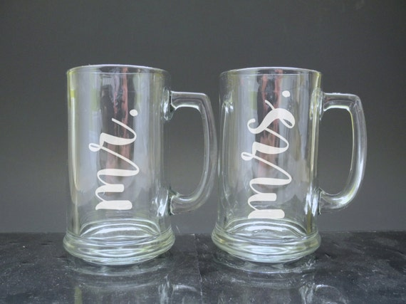 Engraved Wedding Mugs : ... Mr. & Mrs. Beer Mug GlassesEngraved Beer MugsWedding Glasses