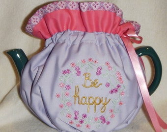 Be Happy Embroidered Tea Cozy