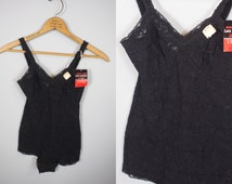 1960s Lace Lingerie Teddy / Black Teddy Lingerie / Medium