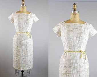 New Direction Dress / 1950s Dress / 50s Embroidered Dress