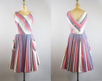 Vintage 1950s Striped Linen Dress w/ Pockets
