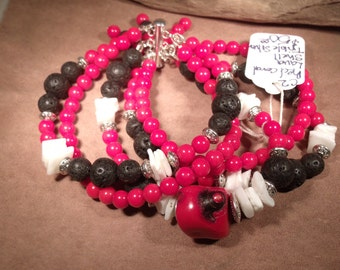 Red Coral, Lava and shell bracelet