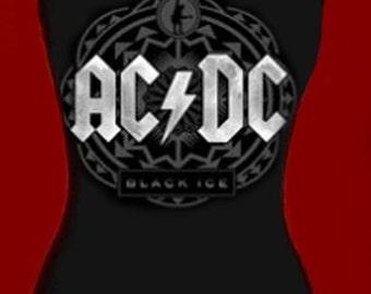 AC/DC diy halter top tank reconstructed hard rock  altered  shirt xs s m l xl