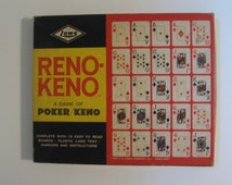 Reno-Keno vintage board game card game. A game of Poker Keno. E.S. Lowe 1961. complete includes HBO Deadwood deck of cards.