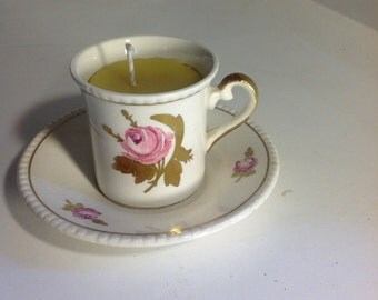 Vintage teacup beeswax candle