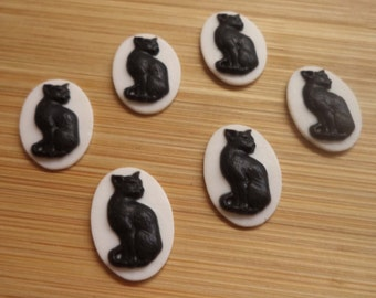 18mm x 13mm vertical oval sitting cat kitten cameo cabochon black on white 6 pc lot l