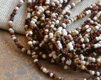 Small White Ivory Brown Glass Seed Beads,3mm,1mm Hole,Rustic,Handmade,Indonesian,Tube,Translucent,Opague,Mixed Colors, One Strand, 44 Inches