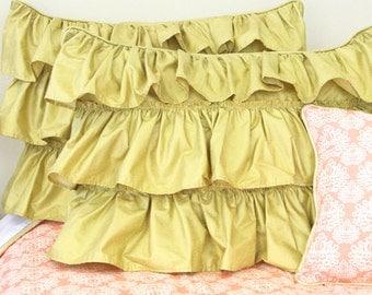Metallic Gold Ruffle Pillow Sham | Standard Pillow Sham