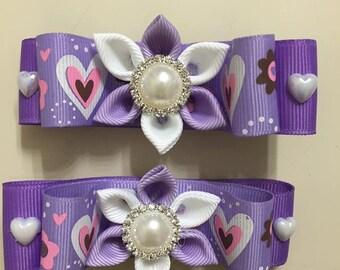 Purple Girl Hair Clips - Handmade