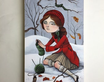 Helping Hand, giclee print mounted on cradled board.