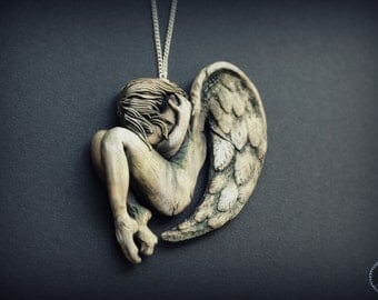 Angel polymer clay necklace