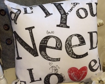 """Beautiful """"All You Need is Love"""" Cushion Cover"""