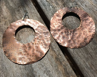 Hammered and patterned copper hoops