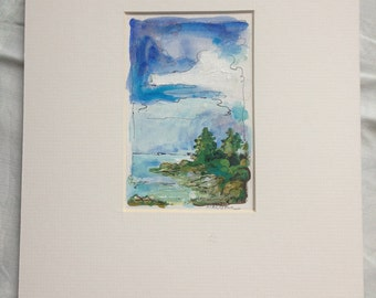 Maine Inlet - Original Art - Acrylic & Pen on Paper, Matted